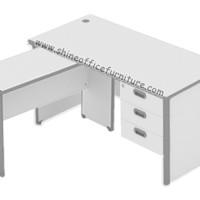 Meja Kantor model L uno warna Grey - Murah