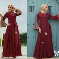 Gamis Maxi Dress Lengan Terompet Bordir Mewah Jersey L Merah Maroon