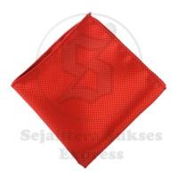 pocket square / sapu tangan saku merah polyester import motif ready