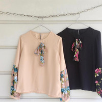 blouse wanita hitam floral/ floral top