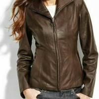 jaket kulit domba asli warna coklat tua model cewe