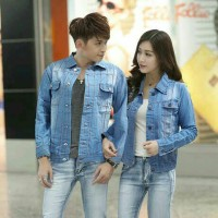 Teraris Marcel Jaket Couple Salur Soft Jeans [Pakaian Couple 0137]