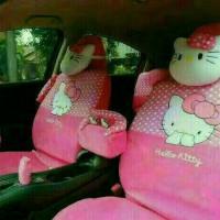 sarung jok mobil khusus HONDA BRIO FULL SET MOTIF HELLO KITTY PINK