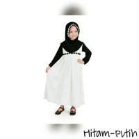 Baju Muslim Gamis Anak Perempuan Simple dan Cantik Warna Putih-Hitam