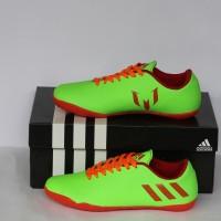 sepatu futsal adidas anak messi hijau stabilo lis merah