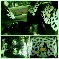 sarung jok mobil agya/ ayla motif sapi moo hitam putih