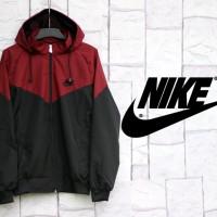 Jaket Nike Kombinasi Maroon Hitam Parasut