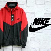 Jaket parasut Nike Kombinasi Merah Hitam