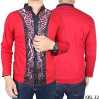 Baju Koko Keren Lengan Panjang Katun Merah KKL 32