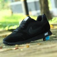Sepatu Pria Sport Nike Waffle Trainer/Full Hitam/Sekolah Cowok Cewek