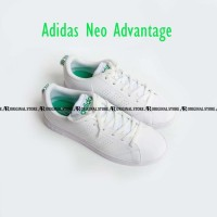 Original 100% Sepatu Adidas Original Neo Advantage Casual Putih Hijau