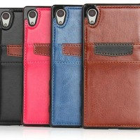 Sony Z5 Premium Sarung Casing Leather Back Cover Case With Card Slot