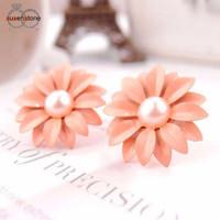anting nude pearl flower   bunga flower   lucu murah unik