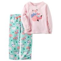 Baju tidur anak laki-laki/Piyama anak Carter Fox Pink (1-6T)
