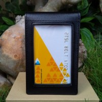 Tempat Id card / Dompet Id Card Holder bahan kulit sapi asli hitam