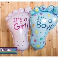 Balon Foil Karakter Kaki Bayi Laki perempuan / Baby shower boy Girl