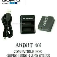 KABEL USB CHARGER DESKTOP BATERAI AHDBT 401 GOPRO HERO 4 BLACK SILVER