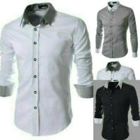 Kemeja Pria Alonzo Hitam Putih Formal Kantor Casual Blazer Top