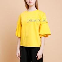 Baju Atasan Blouse Wanita Frill Kuning Self Manufactured