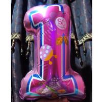 Balon Foil Angka 1 st Happy Birthday Girl Satu Pink baby Shower