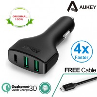 3A Aukey Quick QC 3.0 Car 3 Port Charger Adapter USB Type-C Fast Mobil