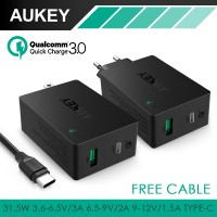 3A Aukey Quick 2-Port Charger 3.0 Adapter USB Type-C Fast Cable Kabel