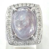 Cincin Emas Putih Mata Batu Blue Safir Sri-Lanka Dan Berlian Eropa