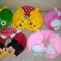 Bantal Leher Kepala Karakter Mickey Keroppi Hello Kitty Bahan Halus