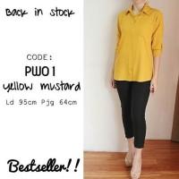 Kemeja Polos Kuning Mustard PW01/Kemeja Wanita Yellow/Basic Shirt