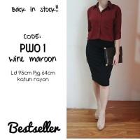 Kemeja Polos Merah Maroon PW01/Kemeja Wanita Wine Maroon/Basic Shirt