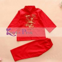 Pakaian cina Baju imlek anak cowok laki red gold cheongsam jibao mer