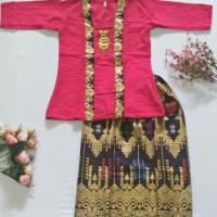 batik anak / setelan baju batik anak cewek lengan panjang DY01 pink
