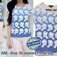 Baju Branded Murah Arasta Blue 3D Layered Floral Blouse Original Pre