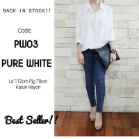 Kemeja Polos Jumbo Putih PW 01/Kemeja Wanita/Kemeja Putih/Basic Shirt