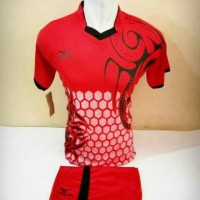 setelan olahraga kaos bola jersey futsal baju volly mizuno batik merah