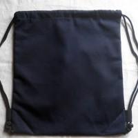 Tas Ransel/Serut Tas Punggung Hitam Polos 41 x 34 cm