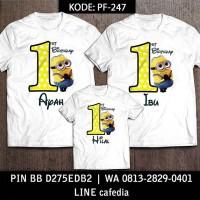 Baju Kaos Keluarga   Ulang Tahun   Couple   Motif Minion Bisa Custom