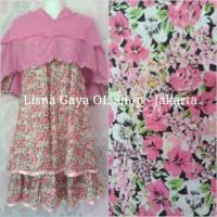 Baju Muslim Anak TK/ Gamis Katun Motif Bunga