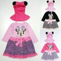 Baju Muslim Anak Cewek Perempuan Gamis Minnie Mouse Leopard Loreng