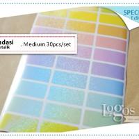 Gradasi Metalik MEDIUM Label nama Stiker polos warna pastel soft color