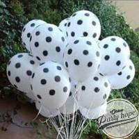 balon latex putih polkasot hitam / balon putih polkadot hitam