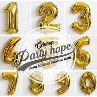 Balon foil angka gold / balon angka gold / balon angka emas