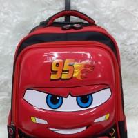 Tas Ransel Troli Dorong Anak Sekolah SD Cars McQueen 6D Farnell Red