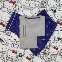 baju tidur wanita kaos combi-s cln katun jpg lgn pjg/cln pjg dot biru