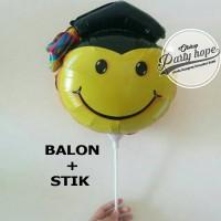 Balon Stik Wisuda / Graduation Foil Stick / Balon Wisuda Smile Mini