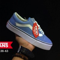 Sepatu Vans OldSkool Premium Grade Original - Biru Muda