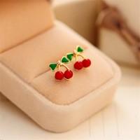 Anting Ceri Cute Sweet Red Cherry Stud Earring