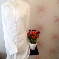 Kemeja blus wanita putih polos zara lembut body panjang
