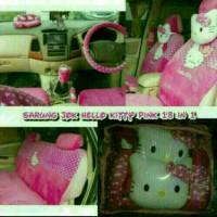 sarung jok mobil khusus agya/ayla motif hello kitty pink