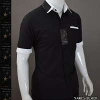 KEMEJA YARIS (hitam/putih) - Baju Pria Slimfit Lengan Pendek